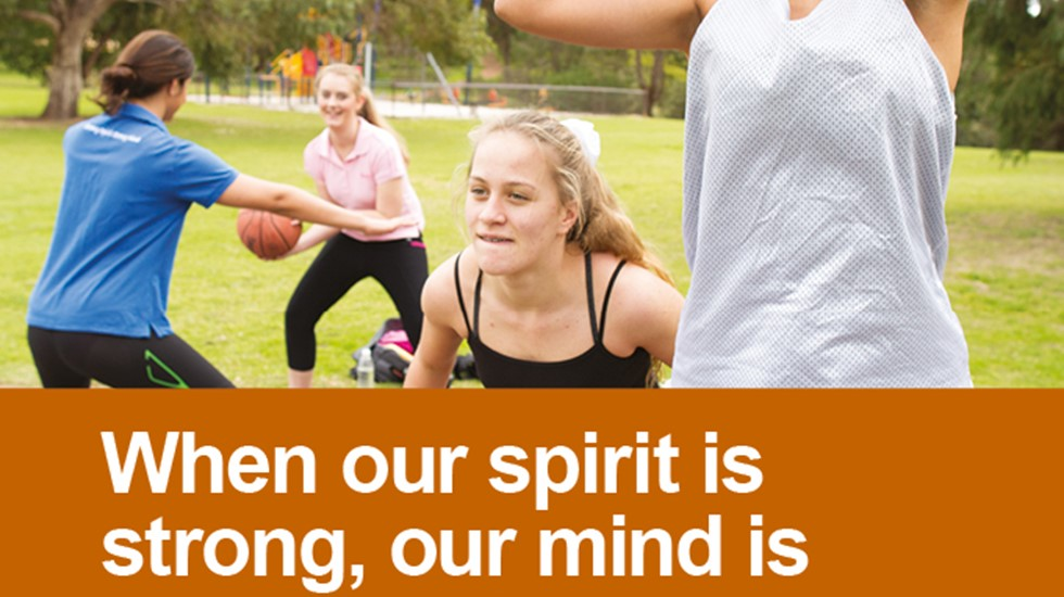 Strong Spirit Strong Mind poster - When our spirit is strong (featuring a basketballer)
