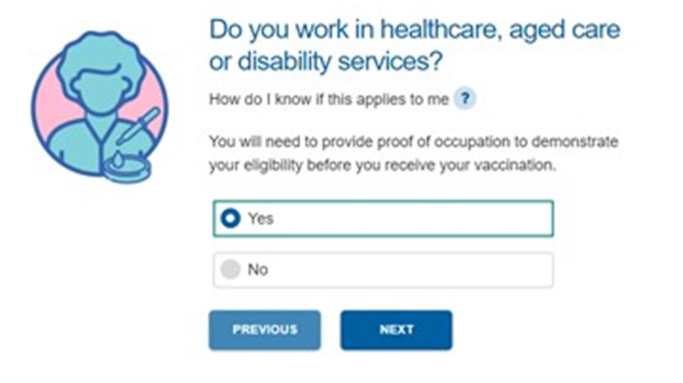 Screen grab from the COVID-19 vaccine eligibility checker